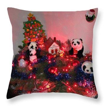 Holidays In Pandaland Throw Pillow by Ausra Huntington nee Paulauskaite