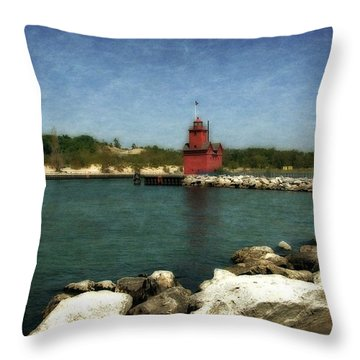 Holland Harbor Light And Breakwater Throw Pillow