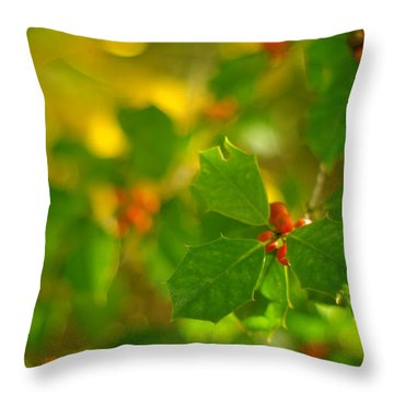 Throw Pillow featuring the photograph Holly In The Wood by Suzanne Powers