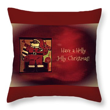 Holly Jolly Santa  Throw Pillow