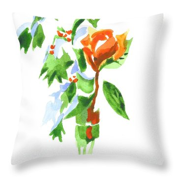 Holly With Red Roses In A Vase Throw Pillow by Kip DeVore