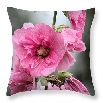 Hollyhock Throw Pillow by Bonfire Photography