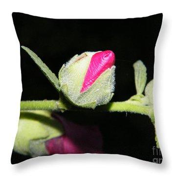 Hollyhock Buds Throw Pillow