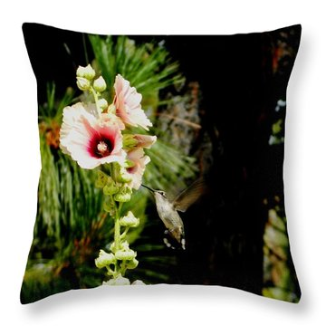 Hollyhock Heaven Throw Pillow