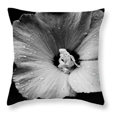 Hollyhock In Black And White Throw Pillow