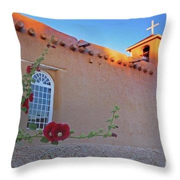 Hollyhocks On Adobe Throw Pillow