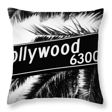 Hollywood Boulevard Street Sign In Black And White Throw Pillow
