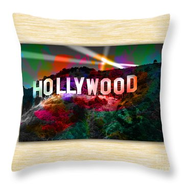 Hollywood Sign Throw Pillow by Marvin Blaine