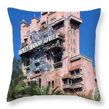Hollywood Tower Hotel Throw Pillow