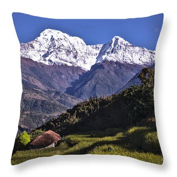 Holy Annapurna South Photo By Artmif Hdr Throw Pillow