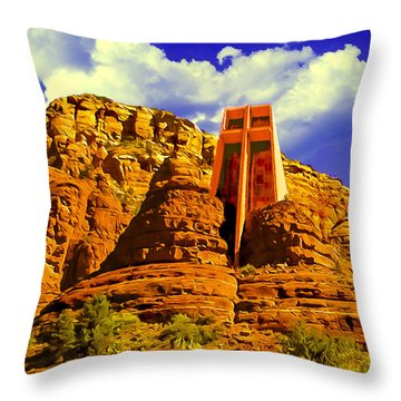 Holy Cross Chapel Coconino National Forest Throw Pillow