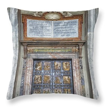 Holy Door Throw Pillow by Joan Carroll