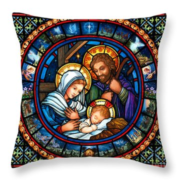 Holy Family Christmas Story Throw Pillow