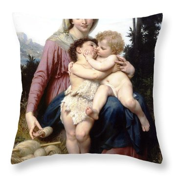 Holy Family Throw Pillow by William Bouguereau