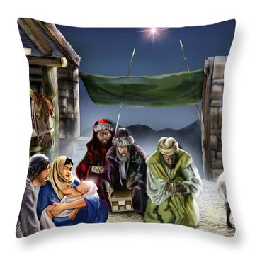 Holy Night Throw Pillow by Reggie Duffie