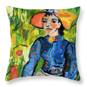 Homage To Vincent Young Women In Straw Hat Sitting In Wheat Field Throw Pillow