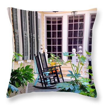 Veranda - Charleston, S C By Travel Photographer David Perry Lawrence Throw Pillow