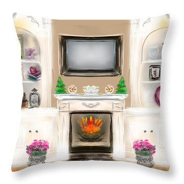 Throw Pillow featuring the digital art Home For The Holidays by Christine Fournier