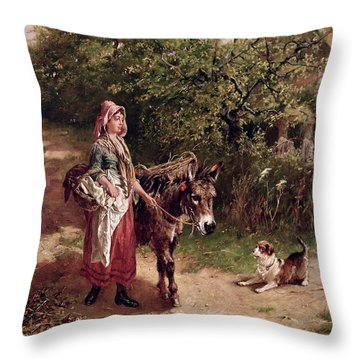 Home From Market Throw Pillow by Edgar Bundy