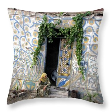Throw Pillow featuring the photograph Home In Ciro Egypt by Jennifer Wheatley Wolf