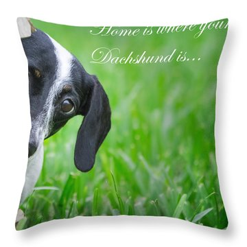 Home Is Where Your Dachshund Is Throw Pillow by Mark Andrew Thomas