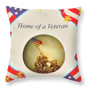 Home Of A Veteran Throw Pillow by Charles Ott