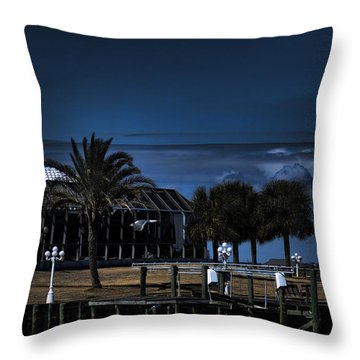 Home On The Bay At Night Throw Pillow by Cathy Jourdan