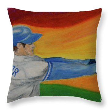 Throw Pillow featuring the drawing Home Run Swing Baseball Batter by First Star Art