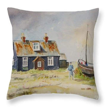 Throw Pillow featuring the painting Home Sweet Home Dungeness by Beatrice Cloake