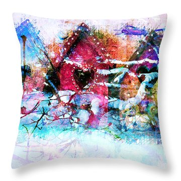 Home Through All Seasons Throw Pillow