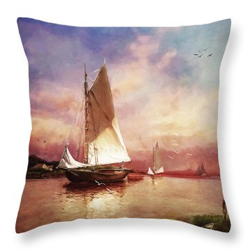 Home To The Harbor Throw Pillow by Lianne Schneider