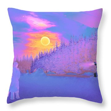 Homebound Train Angel And A Suitcase Throw Pillow by David Mckinney