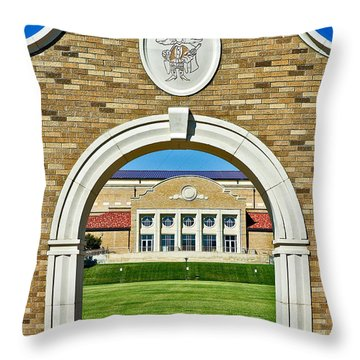 Throw Pillow featuring the photograph Homecoming Bonfire Arch by Mae Wertz