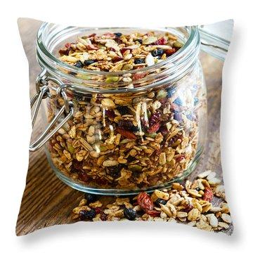 Homemade Granola In Glass Jar Throw Pillow
