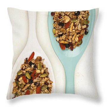 Homemade Granola In Spoons Throw Pillow