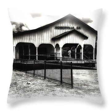 Homerville Railroad Depot Throw Pillow by Michael White