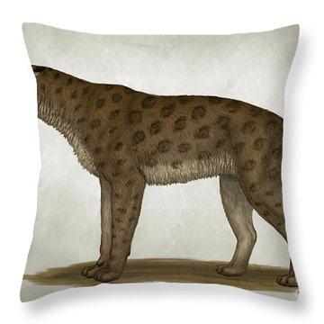 Homotherium Latidens, A Big Sabertooth Throw Pillow by Heraldo Mussolini