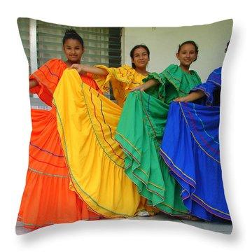 Honduran Dancers Throw Pillow by Lew Davis