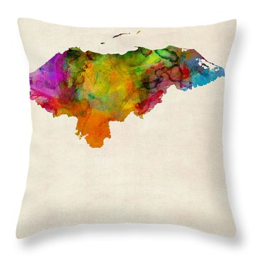 Honduras Watercolor Map Throw Pillow