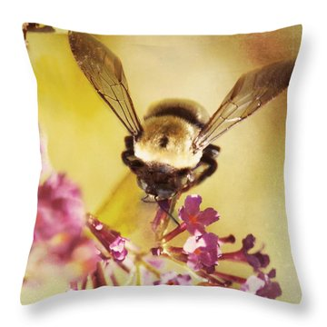 Throw Pillow featuring the photograph Honey Bee by Kim Fearheiley