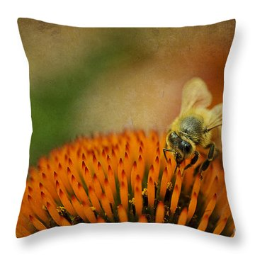 Honey Bee On Flower Throw Pillow by Dan Friend