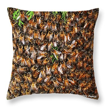 Honey Bee Swarm Throw Pillow by Tom Janca