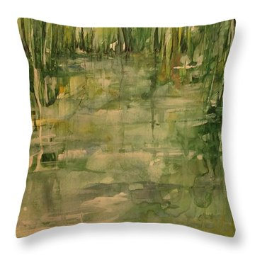 Honey Island Swamp In Green Throw Pillow