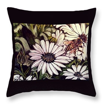 Throw Pillow featuring the painting Honeybee Cruzing The Daisies by Kimberlee Baxter
