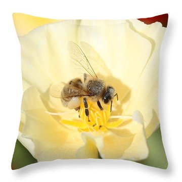 Honeybee On Cream Poppy Throw Pillow by Lucinda VanVleck