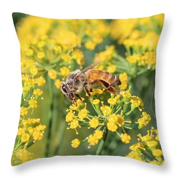 Honeybee On Dill Throw Pillow by Lucinda VanVleck