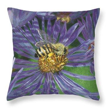 Honeybee On Purple Aster Throw Pillow by Lucinda V VanVleck