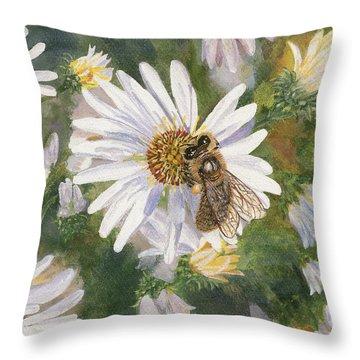 Honeybee On White Aster Throw Pillow by Lucinda V VanVleck