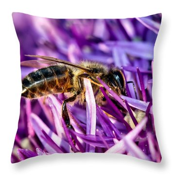 Honeybee Romping In The Garlic Throw Pillow