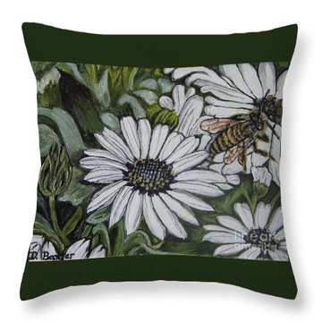 Throw Pillow featuring the painting Honeybee Taking The Time To Stop And Enjoy The Daisies by Kimberlee Baxter